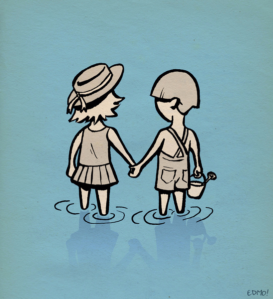 Eddie Monotone, seaside, illustration, beach, seaside
