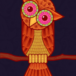 Eddie Monotone, illustration, owl, digital art