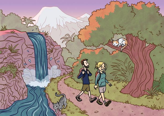 Commission, illustation, hiking, cats, cartoon, comic, Eddie Monotone