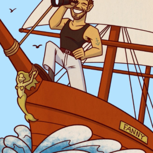 Eddie Monotone illustration, Commission, portrait, sailor, boat, telescope, cartoon, caricature