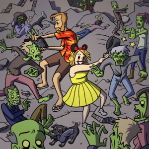 Eddie Monotone, illustration, zombies, cartoon, horror, family outing