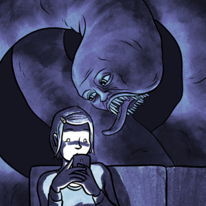 Horror illustration featuring a worm monster with a human face, peering over the shoulder of a woman looking at her phone