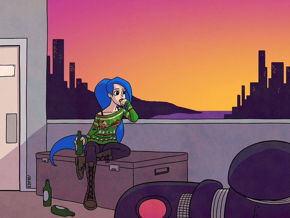 A comic illustration from webcomic Jenny Music by Eddie Monotone